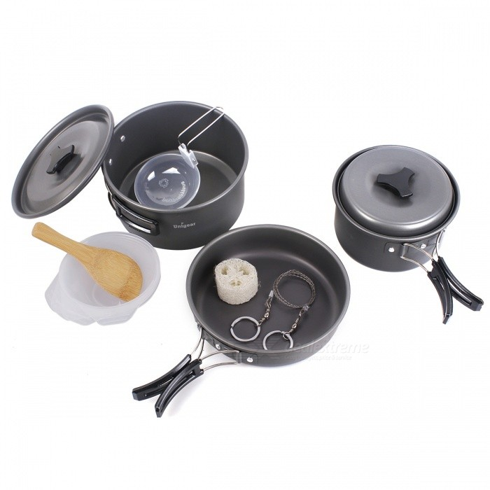 Compact Durable Folding Outdoor Cooking Ware Kit Backpacking Hiking Fishing Cooking Pan Pot Bowl Set for 3-4 PersonsForm  ColorSilverQuantity1 DX.PCM.Model.AttributeModel.UnitMaterialAluminium AlloyBest UseFamily &amp; car camping,CampingTypeStove Accessories,Camp StovesPacking List1 x Big Pot (D*H: 17.2*8.5cm)1 x Small Pot (D*H: 14.8*7.5cm)1 x Frying Pan (D*H: 18*4.5cm) 2 x Pot Covers4 x Bowls (D*H: 11*3.9cm), 1 x Soup Spoon1 x Rice Ladle1 x Loofah Sponge 4 x Sporks 1 x Wire Saw (Length: 53cm)1 x Mesh Bag<br>