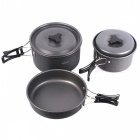 Compact Durable Folding Outdoor Cooking Ware Kit Backpacking Hiking Fishing Cooking Pan Pot Bowl Set for 3-4 Persons