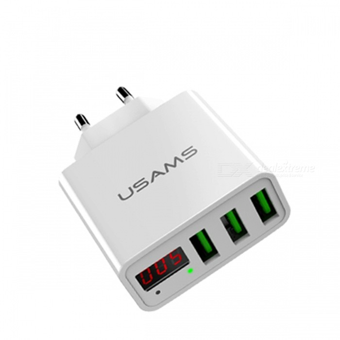 USAMS US-CC035 2.4A 3-Port USB Smart Fast Charge Phone AC Charger with LED Display - White (EU Plug)