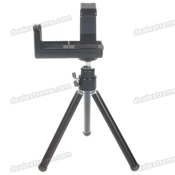 Universal Tripod Holder for MP4/Cell Phone/Camera - Black universal swivel tripod stand holder for cell phone camera black