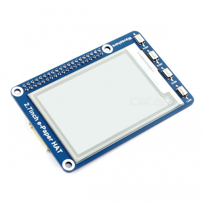 Waveshare 264x176 2.7 Inches E-Ink Display HAT for Raspberry Pi, Arduino, NucleoRaspberry Pi<br>Form  Color2.7-Inch e-Paper HAT Model2.7inch e-Paper HATQuantity1 DX.PCM.Model.AttributeModel.UnitMaterialRF4,PCB,LCDEnglish Manual / SpecNoDownload Link   www.waveshare.com/wiki/2.7inch_e-Paper_HATPacking List1 x 2.7-Inch e-Paper HAT 2 x RPi Screws Packs (2Pcs)<br>