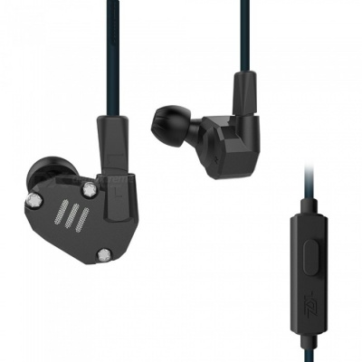 KZ ZS6 Metal 2DD+2BA Hi-Fi DJ Monitor Running Sports In-Ear 3.5mm Wired Earphone with Microphone - Black