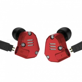 KZ ZS6 Metal 2DD+2BA Hi-Fi DJ Monitor Running Sports 3.5mm Wired In-Ear Earphone with Microphone - Red