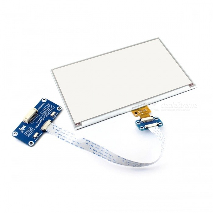 Waveshare 640x384 Three-Color 7.5 Inches E-Ink Display HAT for Raspberry, Arduino, Nucleo (No PI) - BlueLCD, LED Display Module<br>Form  ColorBlueModel7.5inch e-Paper HAT (B)Quantity1 setMaterialpcb,lcdScreen TypeOthers,E-Ink displayScreen Size7.5 inchesResolutionOthers,640x384Working Voltage   3.3 VEnglish Manual / SpecNoDownload Link   www.waveshare.com/wiki/7.5inch_e-Paper_HAT_(B)Packing List1 x 7.5inch e-Paper (B)1 x E-Paper Driver HAT1 x RPi screws pack (2pcs)<br>