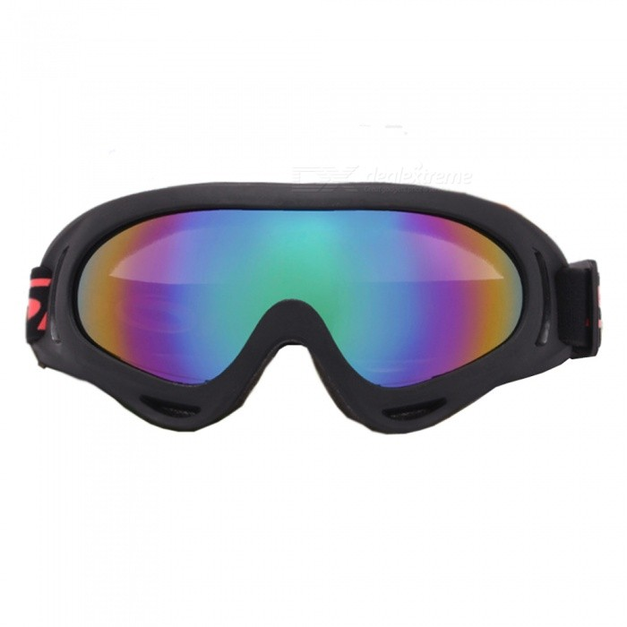 UV400 Protective Outdoor Cycling Motorcycle Sports Goggles, Ski Glasses - Black + Colorful