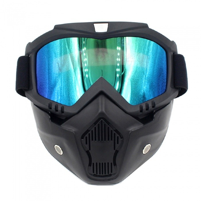 Stylish Motorcycle Helmet Mask Harley Goggles for Outdoor Bike Riding - Black + Color