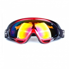 Paint Frame PC HD Lens Outdoor Motorcycle Cycling CS Fan Ski Goggles for Men, Women - Black Red