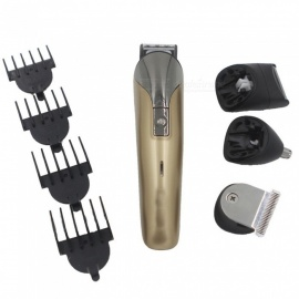 8-in-1 Electric Barber Hair Clipper Shaver Razor Nose Hair Trimmer for Adult - Black + Brown