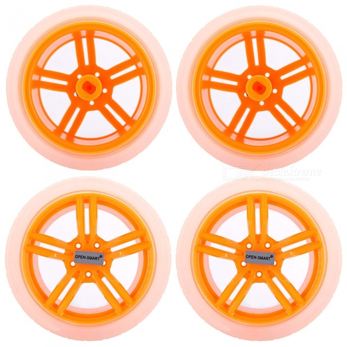 OPEN-SMART 65mm Smart Car Model Wearable Rubber Wheel for TT Motor - Transparent + Yellow (4 PCS)Other Accessories<br>Form  ColorYellow + Translucent WhiteModelN/AQuantity1 DX.PCM.Model.AttributeModel.UnitMaterialPlasticEnglish Manual / SpecNoDownload Link   N/APacking List4 x Rubber Wheels<br>
