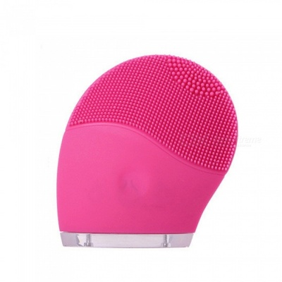 Electric Facial Cleanser, Vibratory Massage Silicone Brush Soft Pore Cleaning Tool - Pink