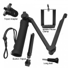 Premium Lightweight 3-Way Tripod Monopod with Adapter, Phone Clip for Gopro Hero 6/5/4 - Black