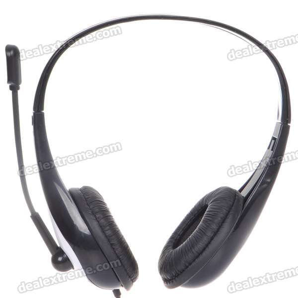 VOLCEAO On-Ear Closed Back Stereo Headphones w/ Microphone - Black + White (3.5mm Jack/220CM-Cable)