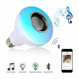 Dimmable E27 Smart RGB Wireless Bluetooth Speaker Music Playing Bulb with 24-Key Remote Control - White