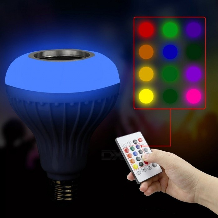 dimmable e27 smart rgb bluetooth sans fil haut parleur jouer de la musique ampoule avec. Black Bedroom Furniture Sets. Home Design Ideas