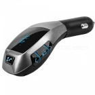 Bluetooth Car Kit Hands Free MP3 Music Player FM Transmitter with TF Card Slot - Black + Silver