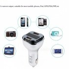 EC5 Fast Charge Car Charger with Dual USB Ports, Blue LED Display - Silver