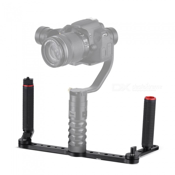 Aluminum Alloy Dual Grip Gimbal Handle with Joystick ControlTripods and Holders<br>Form  ColorBlackModel3SD-1AMaterialAluminum AlloyQuantity1 setShade Of ColorBlackTypeOthers,Handle JoystickRetractableNoPacking List1 x Lateral Arm with 1 Pair of Foldable Arm1 x Left Handle Bar1 x Right Handle Bar1 x Joystick Connection Cable2 x M6 Screws1 x 1/4 Camera Screw1 x Phone Adapter1 x Hex Wrench<br>