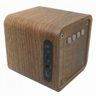 B06 Mini Wooden Bluetooth V4.0 Speaker w/ FM, TF Card Slot - Brown