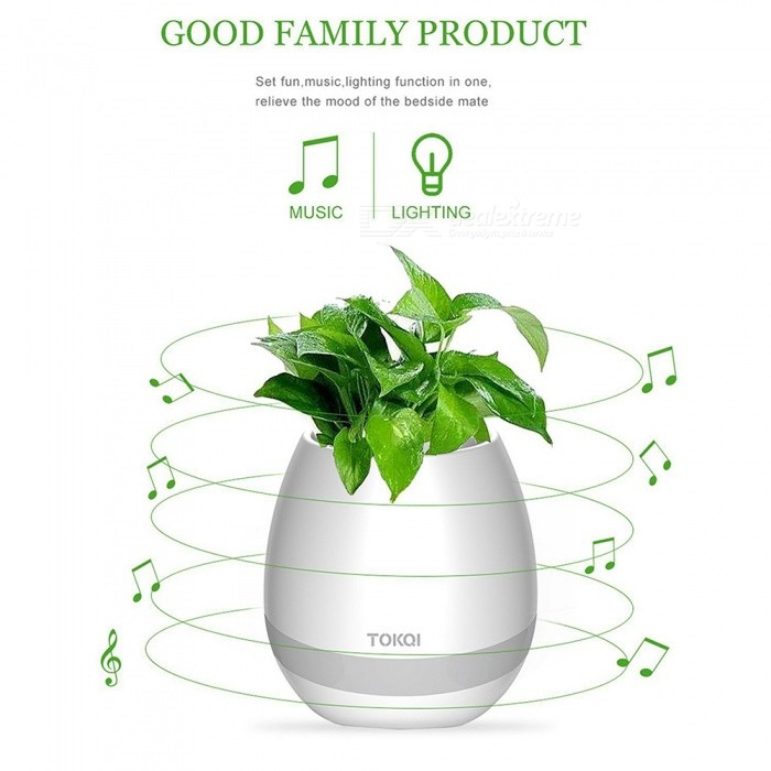 MK3 Music Flower Pot Shape Smart LED Bluetooth Speaker - WhiteBluetooth Speakers<br>Form  ColorWhiteModelMK3MaterialABSQuantity1 DX.PCM.Model.AttributeModel.UnitShade Of ColorWhiteBluetooth HandsfreeNoBluetooth VersionBluetooth V3.0Operating Range10MInterfaceOthers,USBSNR90dBFrequency Response20-20KHZBuilt-in Battery Capacity 1200 DX.PCM.Model.AttributeModel.UnitMusic Play Time12 DX.PCM.Model.AttributeModel.UnitPower AdapterUSBPower Supply3.7VCertificationCEPacking List1 x Wireless Flowerpot speaker1 x Cable1 x Manual<br>