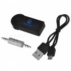 Car Bluetooth Music Receiver Handsfree Audio Stereo Adapter with 3.5mm AUX Plug - Black