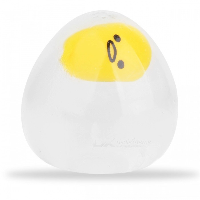 Funny Egg Style Stress Relief Reliever Squeezed Toy - Transparent + Yellow