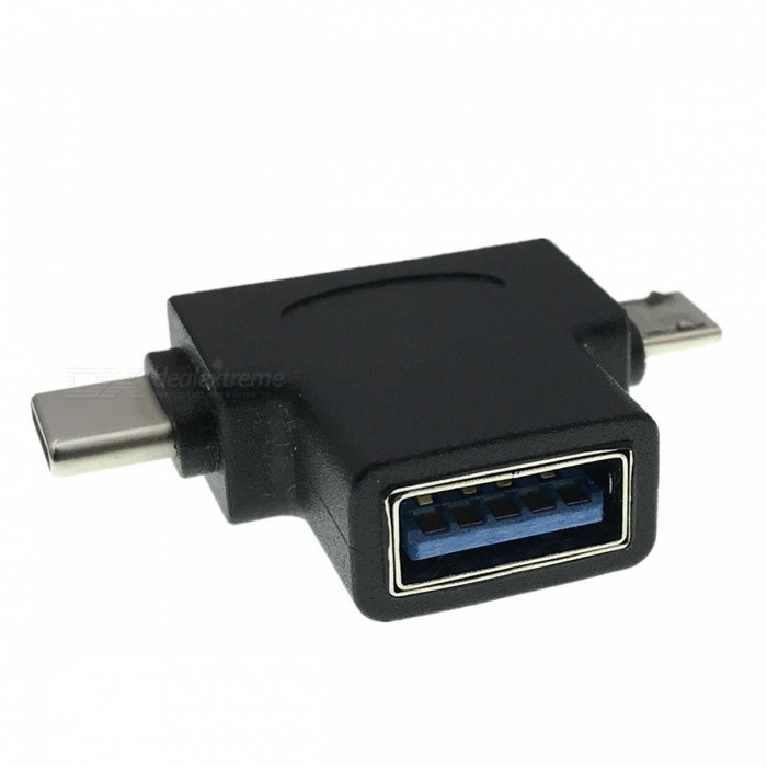 Cwxuan 2-in-1 USB 3.1 Type-C, Micro USB to USB 3.0 OTG Adapter - BlackAdapters &amp; Converters<br>Form  ColorBlackMaterialABSQuantity1 pieceCompatible Modelsfor Smart Phones, Tablet,MacbookMain FunctionsOTGConnectorUSB 3.1 Type-C / Micro USB , USB 3.0Packing List1 x Adapter<br>