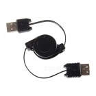 Cwxuan Retractable USB 2.0 Male to Female Extension Data Cable - Black (70cm)