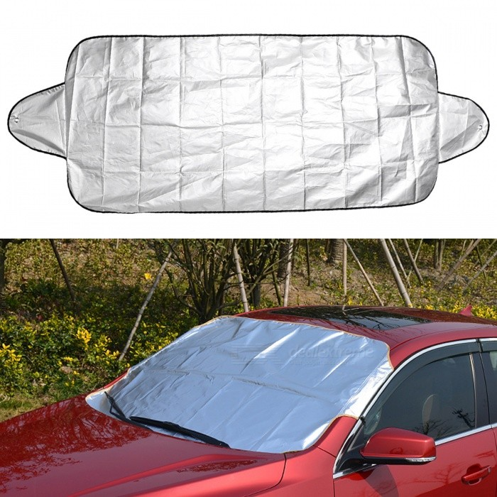 Car Auto Windshield Shade Sun Cover Anti Snow Frost Ice Shield Front Windscreen Cover Dust Protector - 150 x 70CMOther Exterior<br>Form  ColorSilverModel·Quantity1 setMaterialAluminium film + NylonCompatible MakeUniversalPacking List1 x Car Windscreen Cover2 x Suction Cups<br>
