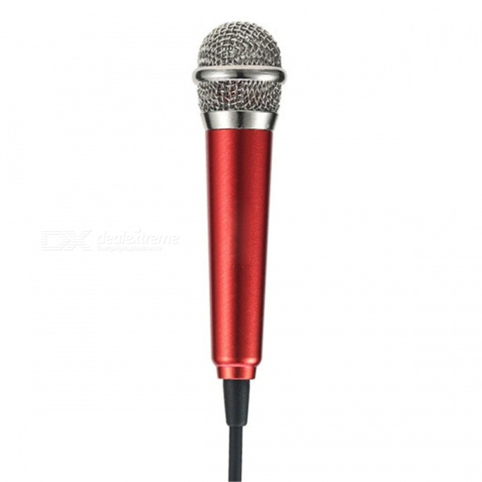 RMK-K01 Mini High Sensitivity Microphone with 3.5mm Audio Cable for Cell Phone, PC - Red