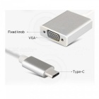 TUTUO USB 3.1 Type-C Male to VGA Female Converter Connector Adapter Cable - Silver