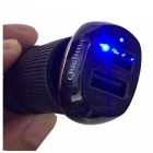 Quelima Mini Flat Hoist Shaped Dual USB Car Charger with Blue Indicator Light - Black
