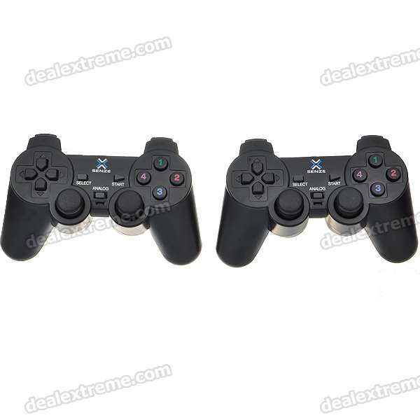 Dual Shock USB Vibrating Joypad Gamepads for PC/Laptop - Black (Pair)