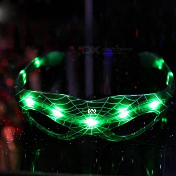 YWXLight LED Spiderman Luminous Glasses for Halloween Party - Green