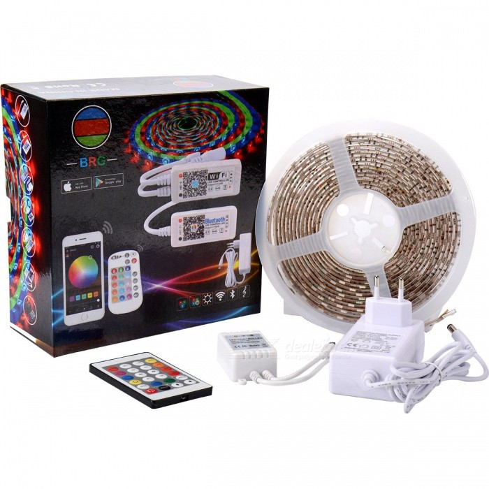 BRG Premium SMD5050 RGB LED Strip Light Kit with 24-Key Addressable IR Controller and Power Supply