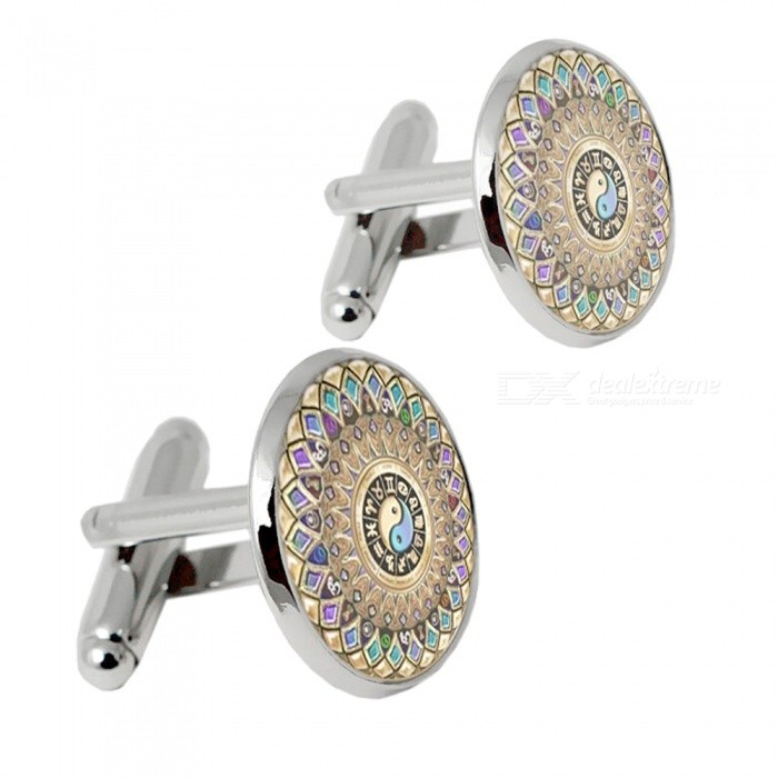 001 Alloy Vintage Style Mens Cufflinks - Silver + Multicolor (1 Pair)Cufflinks<br>Form  ColorSilver + MulticoloredQuantity2 piecesShade Of ColorSilverMaterialAlloyPacking List2 x Cufflinks<br>