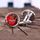 Alloy Red Mask Pattern Men's Cufflinks - Silver + Red (1 Pair)