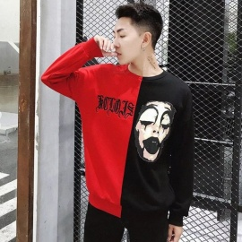 Men's Popular Fashion Long Sleeves Round Neck Cool Print Sweater - Red + Black (XXL)