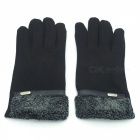 Outdoor Unisex Cold-proof Thermal Warm Touch Screen Velvet Gloves - Black (1 Pair)