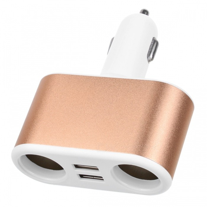 1 to 2 Car Cigarette Lighter Plug to Dual Sockets, Dual USB Adapter Splitter Charger - Golden + WhiteCar Power Chargers<br>Form  ColorGolden + White + Multi-ColoredModelA2Quantity1 DX.PCM.Model.AttributeModel.UnitMaterialAluminum Alloy + ABSInput Voltage12~24 DX.PCM.Model.AttributeModel.UnitOutput Voltage5 DX.PCM.Model.AttributeModel.UnitOutput Current2.1 DX.PCM.Model.AttributeModel.UnitPacking List1 x Car Cigarette Lighter Charger<br>
