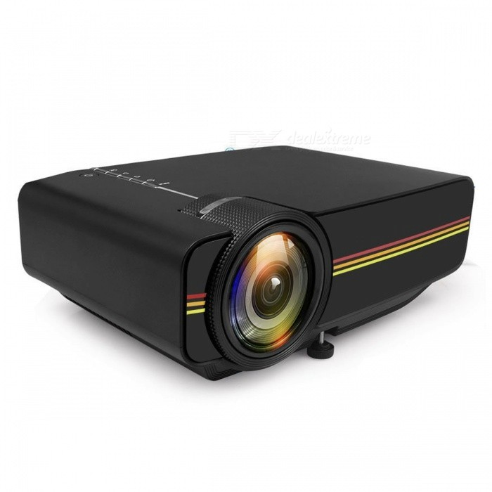 YG410 Mini Portable 1080P HD LED Projector for IPHONE, Android Smartphone, Tablet PC - Black (EU Plug)Projectors<br>Form  ColorBlack (EU Plug)BrandOthers,N/AModelYG410Quantity1 DX.PCM.Model.AttributeModel.UnitMaterialABSShade Of ColorBlackTypeLCDBrightness1000~1999 lumensBrightness1200 DX.PCM.Model.AttributeModel.UnitMenu LanguageEnglishBuilt-in SpeakersYesLife Span30000 DX.PCM.Model.AttributeModel.UnitEmitter BINLEDDisplay Size50-130 inchesAspect RatioOthers,4:3/16: 9Contrast Ratio1000:1Maximum Resolution1080PThrow Distance1.5-4mAudio FormatsOthers,MP3, WMA, ASF, OGG, AAC, WAVVideo FormatsOthers,AVI, MKV, FLV, MOV, MP4, VOB, RMVB, MPEG1, MPEG2, MPEG4Picture FormatsOthers,PEG, BMP, PNGInput ConnectorsAV,USB,HDMIPower Consumption40~59WPower AdapterEU PlugPacking List1 x YG410 Mini Portable Video Projector1 x Power Cable1 x Remote Control1 x AV Cable1 x HDMI Cable1 x User Manual<br>