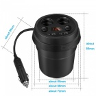 Dual Car Cigarette Lighter Socket Power Adapter Splitter with 2 USB Ports - Black