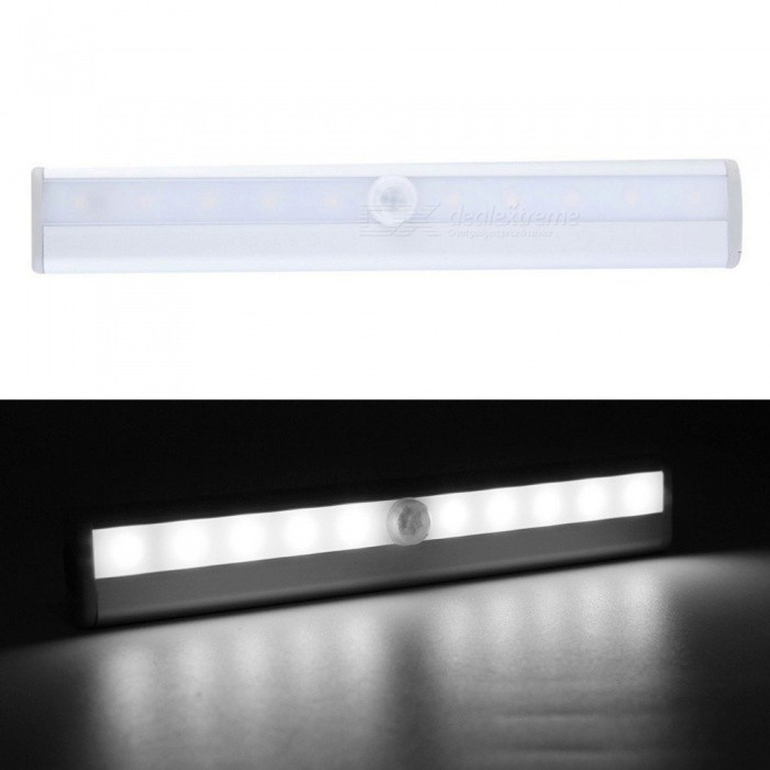 P-TOP 6000-6500K Cold White 10-LED  IR Infrared Motion Detector Wireless Sensor Closet Cabinet Light Lamp - SilverLED Nightlights<br>Form  ColorSilver - Cold WhiteMaterialAluminum + ABSQuantity1 DX.PCM.Model.AttributeModel.UnitPower1WRated VoltageOthers,5 DX.PCM.Model.AttributeModel.UnitColor BINWhiteEmitter TypeLEDTotal Emitters10Theoretical Lumens300 DX.PCM.Model.AttributeModel.UnitActual Lumens150 DX.PCM.Model.AttributeModel.UnitDimmableNoInstallation TypeWall MountPacking List1 x 10-LED IR Sensor Closet Light 1 x User Manual<br>