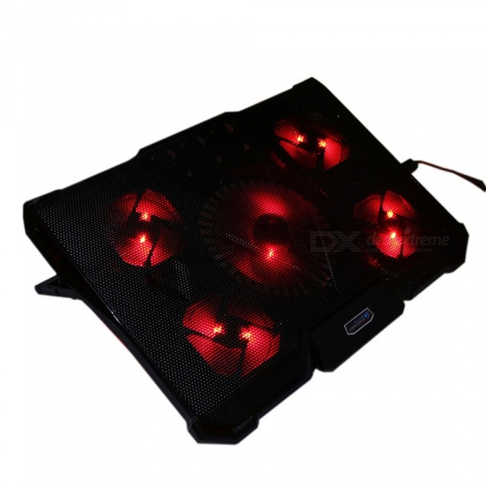 CoolCold Ice Devil 4 Portable Notebook Cooling Pad with 5 Fans - Red, BlackCooling Gears<br>Form  ColorBlack + Red + Multi-ColoredModelIce Devil 4MaterialPlastic + siliconeQuantity1 DX.PCM.Model.AttributeModel.UnitPowered ByUSBNumber of Fans5RPM1100RPM / 2100RPMFan Diameter140mm / 80 DX.PCM.Model.AttributeModel.UnitPacking List1 x Notebook Cooling Pad<br>