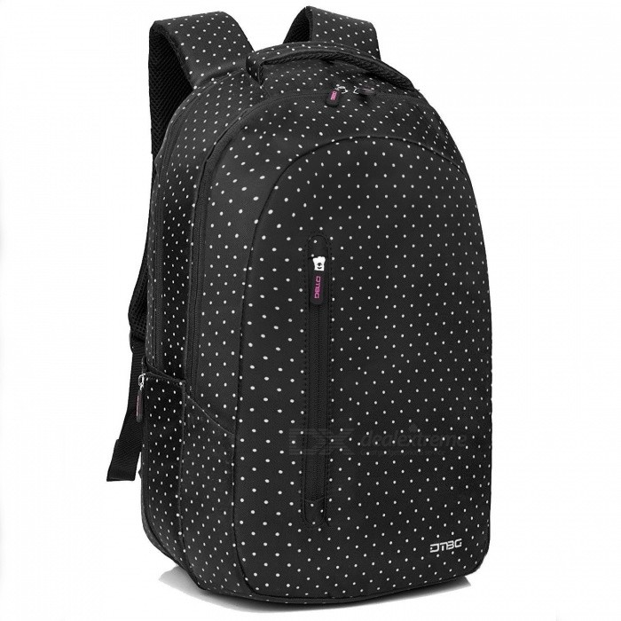 DTBG D8127W Water Resistant Women's Laptop Backpack for 15.6 Inches Laptop / Notebook / 2 in 1 Tablet - White Dots