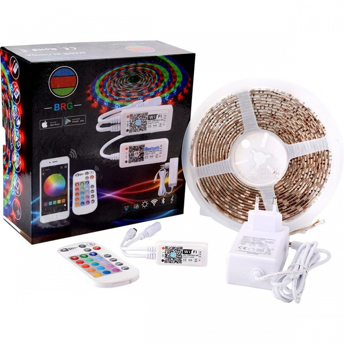 BRG Premium 5m Waterproof IP65 Smart Home 24-Key Wi-Fi RGB LED Light Strip Kit - White5050 SMD Strips<br>Form  ColorWhite + MulticolorColor BINRGBModelBRG-24#WIFIBRG-TZ009MaterialFPC+SMD5050Quantity1 DX.PCM.Model.AttributeModel.UnitPower36WRated VoltageDC 12 DX.PCM.Model.AttributeModel.UnitChip BrandCreeEmitter Type5050 SMD LEDTotal Emitters150Color Temperature2700-7000Wavelength620-625nm(Red) 525-530nm(Green) 465-470nm(Blue)Theoretical Lumens2400 DX.PCM.Model.AttributeModel.UnitActual Lumens2300 DX.PCM.Model.AttributeModel.UnitPower AdapterEU PlugCertificationCEPacking List1 x Controller1 x Remoter1 x Adapter1 x Lighting Strip<br>