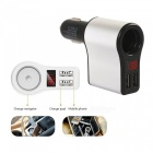 3.1A Dual USB Car Charger Power Adapter with Battery Voltage Display - Silver