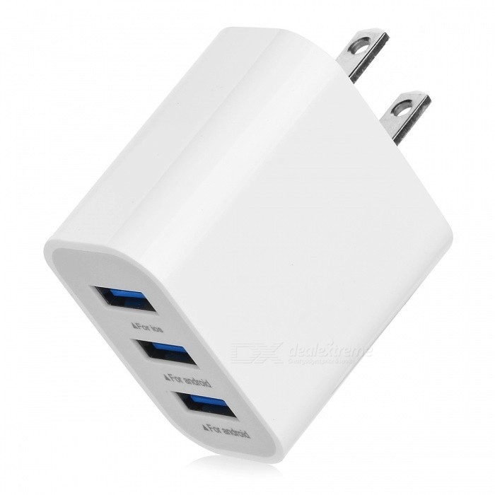 BSTUO 5V 3.1A 3-USB Port Quick Charge Travel AC Charger (US Plug)AC Chargers<br>Form  ColorWhite (US Plug)ModelN/AMaterialABSQuantity1 pieceCompatible ModelsUSB UniversalInput Voltage100-240 VOutput Current3.1 APower AdapterUS PlugQuick ChargeN/ALED IndicatorNoCable Length0 cmPacking List1 x USB charger<br>
