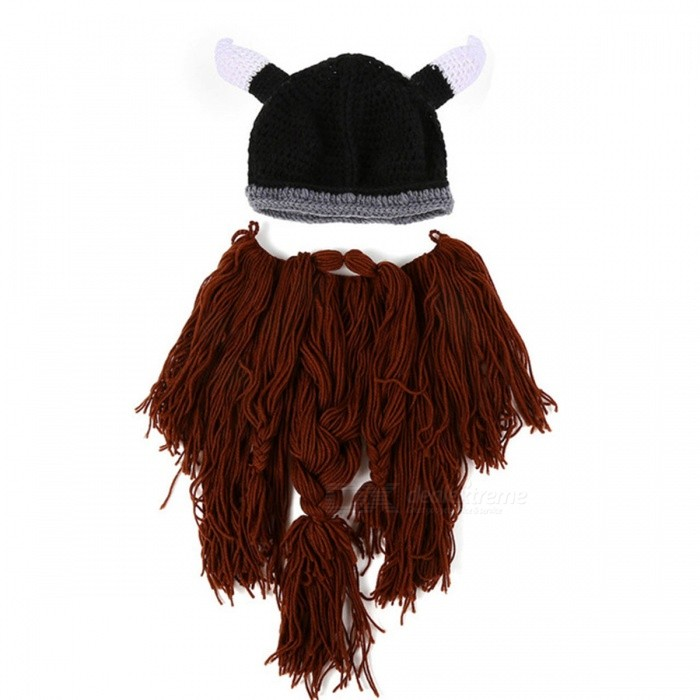Barbarian Vagabond Viking Beard Beanie Horn Mens Hat, Handmade Knit Winter Warm Holiday Party Cool Funny Cosplay Cap - CoffeeCaps and Hats<br>Form  ColorCoffeeQuantity1 DX.PCM.Model.AttributeModel.UnitShade Of ColorBrownMaterialKnitting Cotton, PolyesterGenderMenSuitable forAdultsStyleOthers,NoveltyPatternViking Beard Beanie Horn HatsStrap TypeNoSeasonsOthers,WinterPacking List1 x Winter Viking Beard Hat For Men<br>