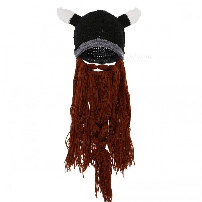 b982ed731b5 ... Barbarian Vagabond Viking Beard Beanie Horn Men s Hat