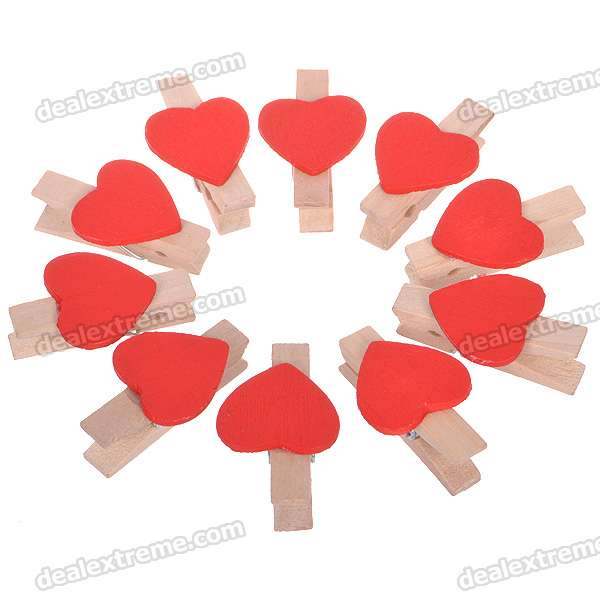Cute Red Heart Style Wooden Clothes Pegs (10-Piece Set)